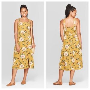 NWT Yellow Floral Sleeveless Square Neck Midi